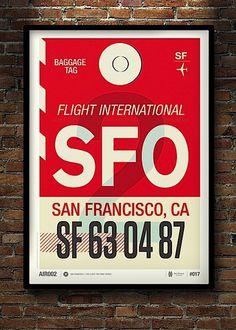 Modern Flight Tag Prints #red #sfo #flight #airplane #print #screen #tag #ca