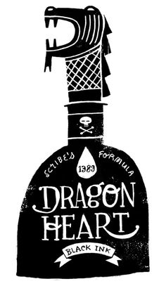 Dragon Heart Black Ink #dragon #ink #design #illustration #drawn #hand #typography