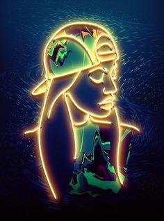 Vasya Kolotusha #vasya #pattern #girl #texture #illustration #art #poster #fashion #light #kolotusha #neon