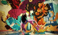 Nike Giant Robot Chase – Ilovedust – Illustrators & Artists Agents – Début Art #illustration