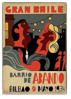 Gran baile del barrio de Abando 1934 Pertiera/Pérez/Oyalde #poste #poster