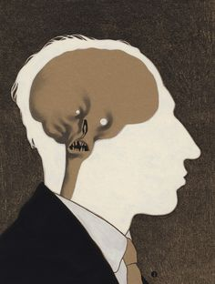 Edward Kinsella Illustration #illustration #head #skull #interior #mind #anatomy #thinking #conscience #design #art