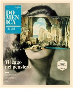 Intriguing Domenica - Coverjunkie.com #black and white #photomontage #magazine cover