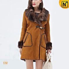 Womens Sheepskin Coats Fur Collar CW644128www.cwmalls.com #sheepskin #womens #coats