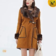 Womens Sheepskin Coats Fur Collar CW644128www.cwmalls.com