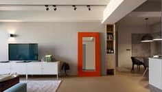 Minimally Designed Apartment With Punches of Color #interior #design #decor #mirror #deco #decoration