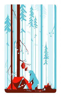 Tom Haugomat | FormFiftyFive – Design inspiration from around the world #bear #illustration #design #woods