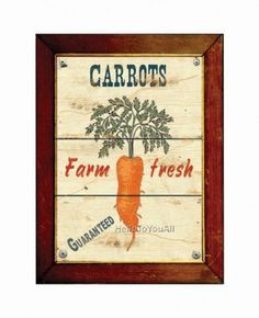 Farm fresh carrot poster 8 x 10 by HelloToYouAll on Etsy #carrot #print #vegetables #poster #art #carrots