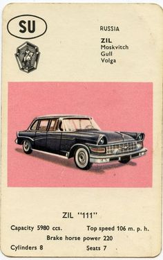 All sizes | Zil 111 | Flickr - Photo Sharing! #illustration #car #60s #playing card #top trumps