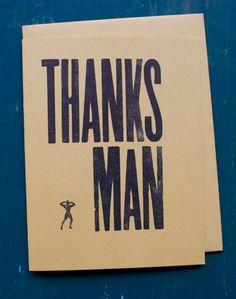 SALE thanks man letterpress card