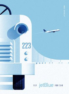 LabPartners_JetBlue_4 #airplane #flight #bue #retro #aviation #airline #illustration #jet #poster