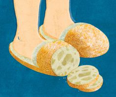 Ciabatta Illustrated Etymology #illustration #bread #slippers #adam r garcia #backing #ciabatta #illustrated etymology