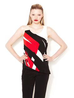 Printed Silk Crepe Top #gilt #red #shirt #tanktop #fashion