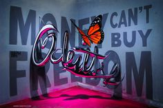 anamorphic chrome letters odeith MONEY CANT BUY FREEDOM 2015 #graffiti #anamorphic #odeith