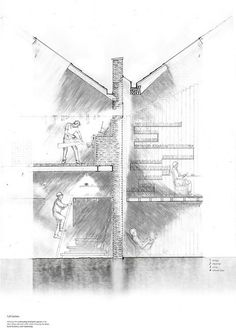 Section of the live/work units, showing the contrasting spaces as well as the structural tectonics and materiality. #drawing #photoshop #architecture #section #technical #collage #pencil