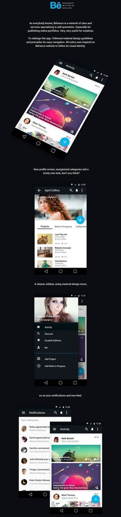 Behance App – Material Design by Agnes Pinhanelli