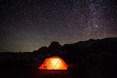 Tent in the mountains at night