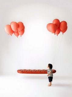Balloon Bench by Satoshi Itasaka | slyapartment #interior #balloons #couch #design #imagination #genius #baby