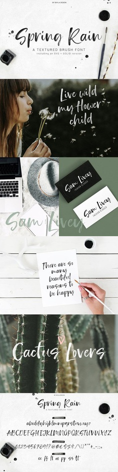 Beautiful watercolour font SpringRain SVG watercolor brush font by Skyla Design Spring Rain is a trendy brush font with lots of texture and style. This font comes in both an SVG font where all that yummy watercolor texture is included and also comes in a solid version. Spring Rain will look awesome on all your branding materials, logo's, cards, quotes, and any other amazing projects you are working on.