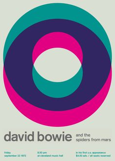 david bowie at cleveland music hall, 1972 - swissted #music #color #poster #typography