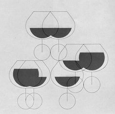 Marcel Wyss (Bern) 1961 #glasses #illustration #wine