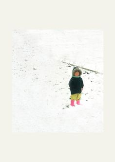 http://robertoortu.tumblr.com/ #pink #child #snow #childhood #lost #winter