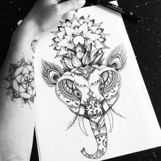 Elephant lotus mandala tattoo design