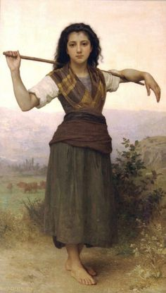 "William Adolphe Bouguereau with oil painting ""The Shepherdess"" #oil #painting #paintings"