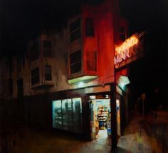 Midnight_spotlight.jpg 1392×1270 pixels #urban #city #cogan #kim #night #painting #neon