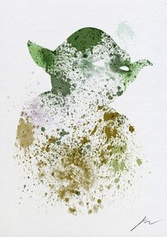 Abstract Paint Splatters of Familiar Star Wars Characters - My Modern Metropolis #yoda