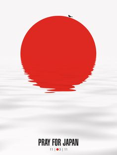 Pray for Japan #illustration #posters #japan #red #water #disaster #pray #ripples