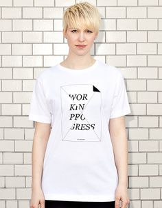WORK IN PROGRESS - STILL BLANK? - white t-shirt - women | NATRI - Shirt Label #silkscreen #apparel #modern #print #design #graphic #shirt #minimal #fashion #type #typography