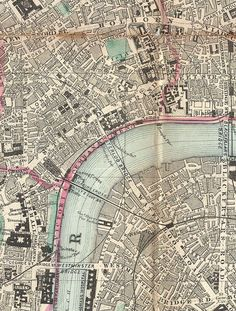 Pocket map of London, c. 1890 #waterloo #1890 #london #map #bridge