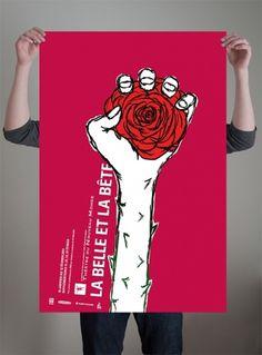 Affiche La Belle et la Bête | Gabriel Lavallée — Designer graphique #beast #affiche #rose #illustration #bete #poster #hand #belle #beauty