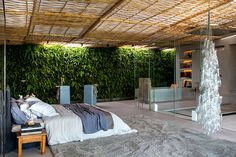 Tropical Loft Designed by Gisele Taranto Arquitetura bathroom area two huge showers