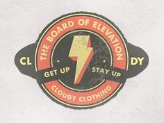 Dribbble - The Board of Elevation | Cloudy Clothing by Jordan Mahaffey #badge #clothing #vintage #texture