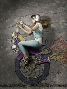 Chalk illustration of bike #model #surrealism #chalk #illustration #photography #art #street