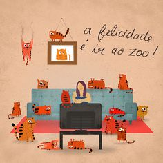 Hapiness is... on Behance #illustration #zoo #cats #hapiness