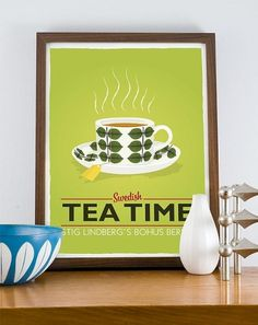 Stig Lindberg Bersa Swedish Tea Time A3 poster LIME by handz