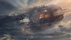 The Crash of the Old Titan by Grivetart #design #art #sci fi #space #future #spaceship #destruction #mist #titan #mechanical #crash