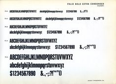 This is a specimen of Folio Bold Extra Condensed, designed by Konrad Bauer and Walter Baum. #type #specimen #typography