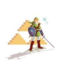 Pixel Link Art Print by Phil Giarrusso   Society6 #pixel art #video games #zelda