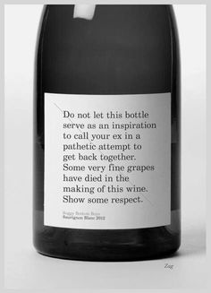 Wine bottle warning label
