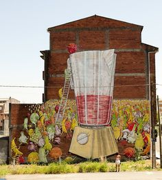 Street Art News #street art #mural #juice #wall painting #vegetables #blu #fruits