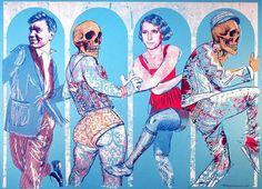 """Grobgrafik Portfolio » Silkscreen Print: """"Reigen"""" #print #silkscreen #poster #variousgould"""