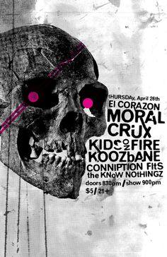 Moral Crux gig poster #punk #presstype #crux #poster #moral #skull
