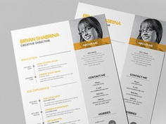Free Vector Resume Template with Yellow Color Scheme