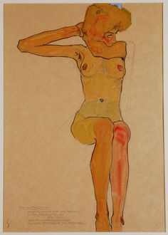 Egon Schiele, Seated Female Nude with Raised Arm (Gertrude Schiele), 1910 #illustration #life drawing #study #woman #nude #sketch #female #s