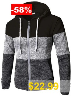Men #Contrast #Color #Zipper #Hoodie #Striped #Hooded #Sweater #Sportswear #Casual #Top #- #BLACK