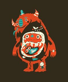 #illustration #vector #monster #character #red #negativespace